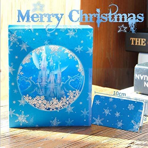 BC Worldwide Ltd hecho a mano en 3D tarjeta de felicitación de la caja emergente navidad Navidad azul castillo de hielo copo de nieve cuento de hadas regalo de papelería para el amigo y la familia