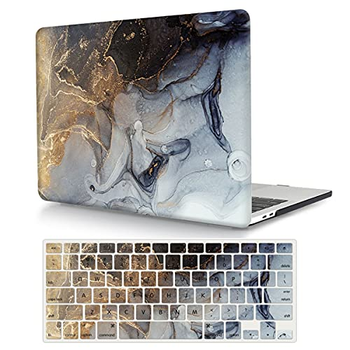 Case Compatible with MacBook Pro 13 Inch 2015 2014 2013 2012 Model A1502 & A1425, Plastic Hard Shell Protective Case with Keyboard Cover for Mac Pro Retina 13 Old Version - Grey Marble