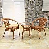 SCDXJ Conjunto Jardin,2 sillas de Mimbre y una Mesa,Adecuado para jardín, Exterior, balcón,Yellow