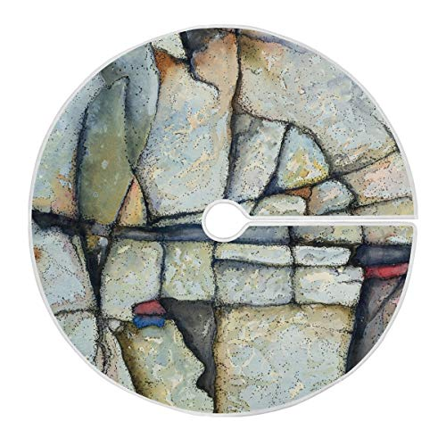 ALAZA Abstract Rock Painting Christmas Tree Skirt Ornament 48inch Diameter Christmas Decoration New Year Party Supply(1eb7i)