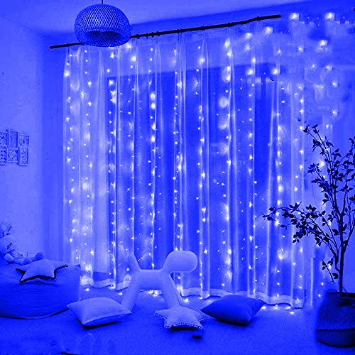 KNONEW 300 LED Window Curtain Lights,8 Modes, LED String Fairy Light Plugin for Indoor Outdoor, Wedding Party/Christmas/Halloween/Party Backdrops/Gazebo (Blue)