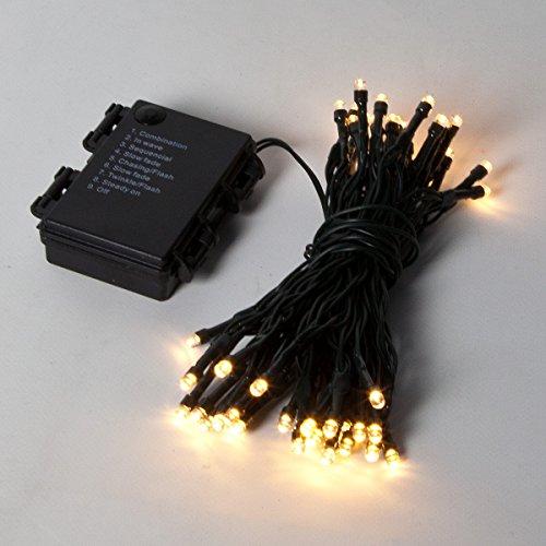 Guirlandes Lumineuses 5 Mètres 50 LEDs à Piles Intérieur/Extérieur - Couleurs et Formes au Choix - Minuterie/Timer Intégré par Festive Lights (Blanc Chaud, Classique)