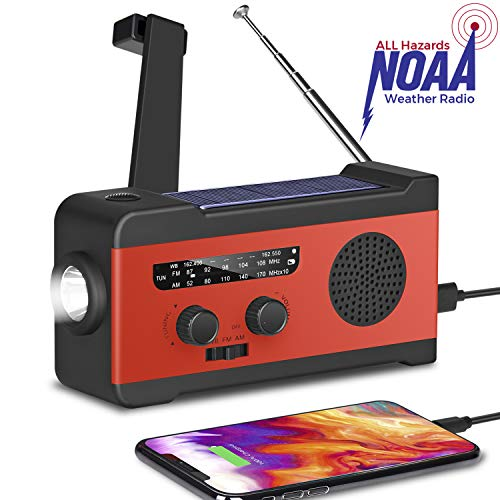 [2020 Upgraded Version] Fansrock Emergency Solar Hand Crank Radio, NOAA Weather Radio with AM/FM, LED Flashlight, SOS Alarm, 2000mAh Power Bank for Cell Phone