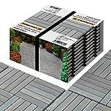 Interbuild Acacia Hardwood Decking Tiles 30 × 30cm | Gris Oscuro | 10 Azulejos = 0,9 m2 por Paquete | Millones vendidos | para Patio y balcón