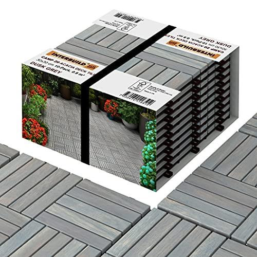 INTERBUILD Akazien Hartholz Deck Fliesen 30 × 30cm   Dämmerungsgrau   Patio & Balkon   10 FLIESEN = 0,9 ㎡ pro PACKUNG holzfliesen   balkon bodenbelag   terassenboden außen   klickfliesen holz