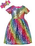 Sequin Princess Dress Toddler Girls Birthday Dresses Glitter Wedding Party Gown for Little Kids Summer Short Sleeve A Line Midi Dress Pageant Rainbow Hot Pink 10 5-6T