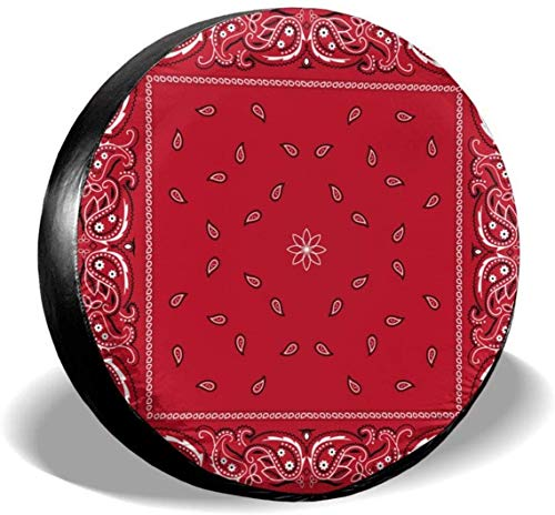 Black Border Red Bandana Colorful Paisley Bandanna Cubierta de neumático de rueda de repuesto Cubiertas de rueda universales de poliéster para Jeep Trailer Rv SUV Truck Accesorios, 15 pulgadas