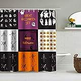 DAHALLAR Duschvorhang,Lustiges Kürbis-Geisterschädel-Thema des Halloween-Platzes,personalisierte Deko Badezimmer Vorhang,mit Haken,180 * 180