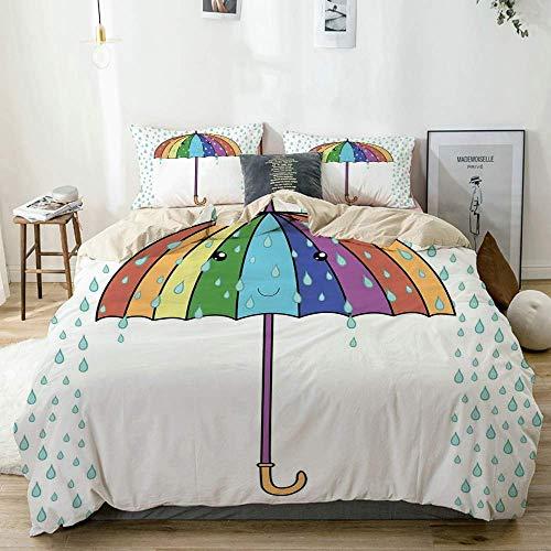 Juego de funda nórdica beige, alegre paraguas de dibujos animados con tema de la temporada de otoño en colores del arco iris, sonriendo durante la lluvia, juego de cama decorativo de 3 piezas con 2 fu