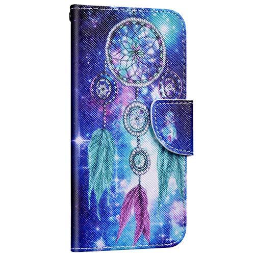 Saceebe Compatible avec Samsung Galaxy S10e Housse Portefeuille Cuir Coque 3D Motif Coloré Coque Flip Wallet Case Porte-Cartes Support Stand Clapet Etui Housse de Protection,Attrape-rêves