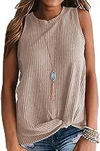 MIHOLL Womens Waffle Knit Tunic Blouse Twist Knot Henley Tank Tops Loose Fitting Plain T Shirts (X-Large, Oatmeal)
