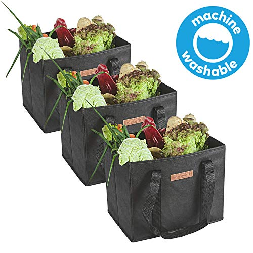 HousWork Reusable-Waterproof-Washable-Grocery-Shopping-Bags Made Foldable | Large, Durable Convenient Tote with Reinforced Bottoms(Black) (3 Count)