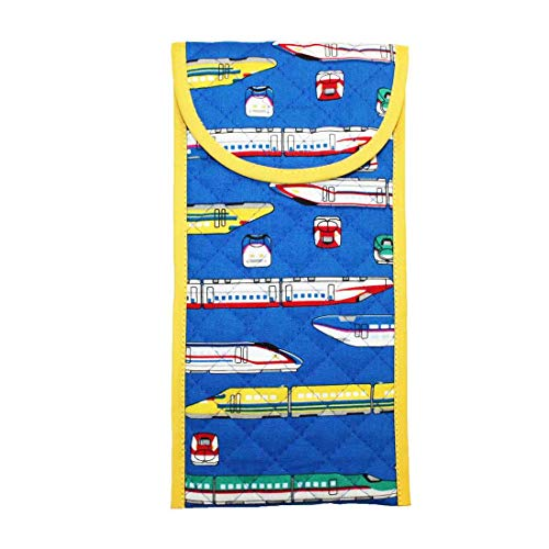 小物入れ袋 ブルー×新幹線柄 はさみケース 彫刻刀入れ 粘土ベラケース 筆記用具入れ 幼稚園 小学校 中学校