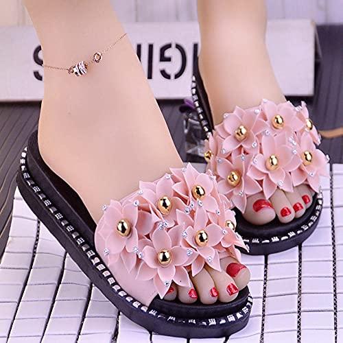 zuecos mujer,Sandalias y zapatillas de color grueso de verano de Diamond Diamond, zapatillas de baño de belleza con resueltos solas impermeables y antideslizantes de dibujos animados.-38 (24 cm / 9.4