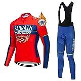 Trajes de Ciclismo para Hombre de Manga Larga, Jersey de Ciclismo térmico de Invierno y Pantalones Largos para MTB