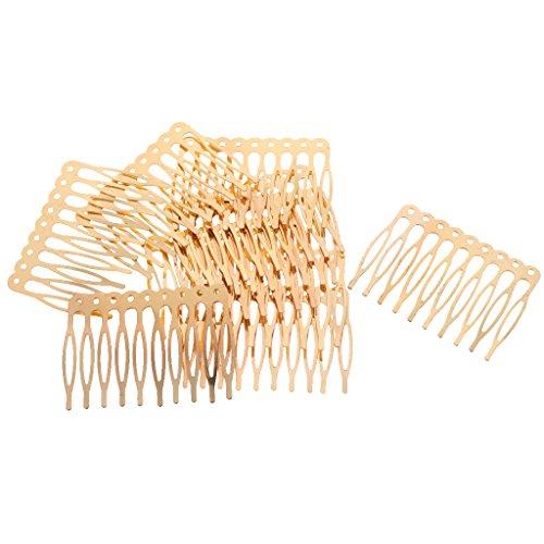 F Fityle 10pcs Antique Argent Or Bronze Ton Métal Cheveux Côté Peignes Clips Goupilles 2.7/5.6cm pour Les Bijoux de Bricolage Trouver Artisanat - Or, 5,6 cm