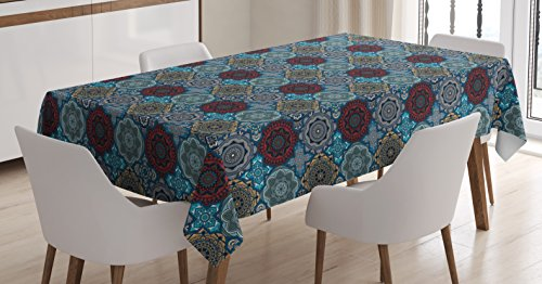 Ambesonne Moroccan Tablecloth, Patchwork Style Vintage Ottoman Inspiration Retro Motifs, Dining Room Kitchen Rectangular Table Cover, 60' X 84', Brown Blue