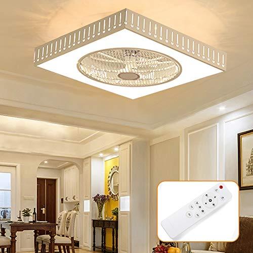 Lámpara de techo con ventilador 55cm, creativa, cuadrada, ajustable, ventilador de techo LED mando a distancia 40W 220V color blanco cálido/blanco neutro/blanco frío 2700-6500 K A++ (gotas de agua)