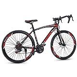 JELINCL Road Bike Hybrid Bike for Men Women Commuter Bike with 21 Speed Gears Double Dies Brakes 700c 26 Inch Black Red…