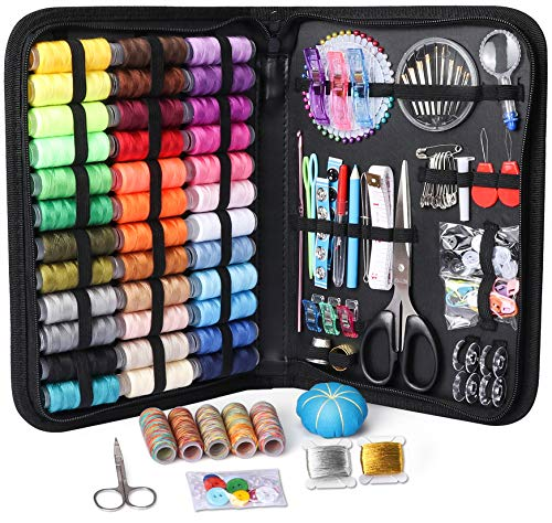 Large Sewing Kit, 218 Pcs Premium Sewing Supplies, Anti-Scratch Durable 600D Oxford Fabric Sewing Kits for Adults, Sewing Kits Set Suitable for Traveller, Emergency, Beginner, Kids, Home and DIY