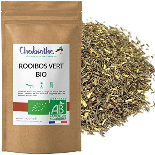 Chabiothé - Rooibos vert BIO 200g - sans théine et non fermenté - conditionné en France - sachet biodégradable