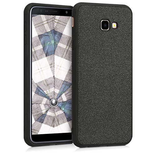 kwmobile Cover Compatibile con Samsung Galaxy J4+ / J4 Plus DUOS - Custodia Morbida per Cellulare - Back-Case Protettiva - Soft-Case Tessuto Grigio Scuro