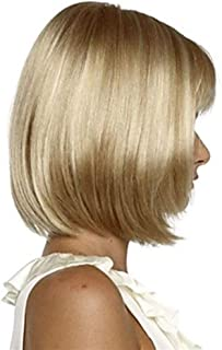HAIRJOY White Women Synthetic Full Wigs Short Straight Bob Hairstyle Blonde HighLights Hair Wig Heat Resistant (Color : Blonde, Stretched Length : 14inches)