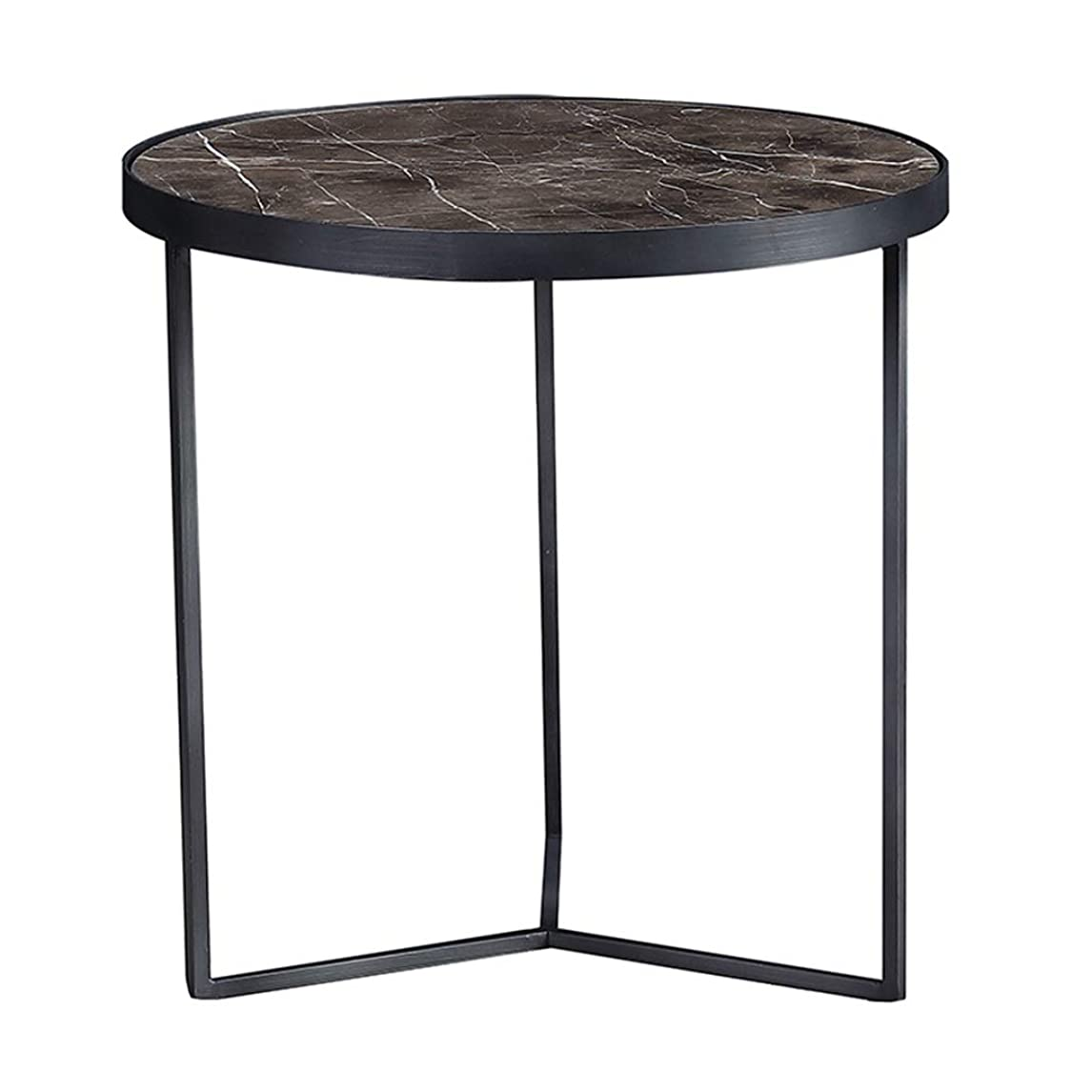 バケットのみ伝導シンプルサイドテーブル/錬鉄製コーヒーテーブル、大理石の卓上、金属製フレーム、ホームリビングルーム、ベッドルーム、バルコニー、丸型、黒、(サイズ:50.5×50.5×50.5cm)