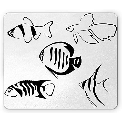 Ozean-Mausunterlage Fischschwarm-flüchtiger Druck Sealife Aquarium-Tiere mit rutschfestem Gummimousepad des Streifen-Grafik-Bildes