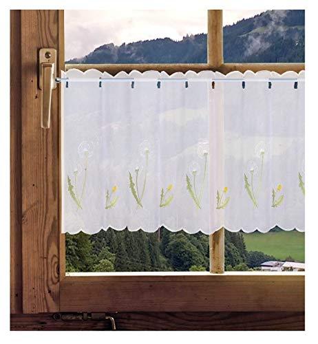 Scheibengardine Pusteblume transparente Kurzgardine 50x145cm (HxB) Küchengardine Badgardine