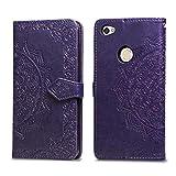 Bear Village Hülle für Xiaomi Redmi Note 5A, PU Lederhülle Handyhülle für Xiaomi Redmi Note 5A, Brieftasche Kratzfestes Magnet Handytasche mit Kartenfach, Violett