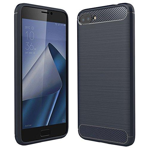 ebestStar - Asus Zenfone 4 Max Hülle ZC554KL (Pro, Plus) Kohlenstoff Design Schutzhülle, TPU Handyhülle Flex Silikon Case, Dunkelblau [Phone: 154 x 76.9 x 8.9mm, 5.5'']
