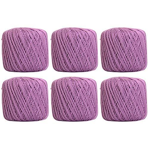 6 볼 팩 THREADART100%순수 코튼 크로 셰 뜨개질 스레드-크기 3 색 20 라일락-22 색상을 사용할 수