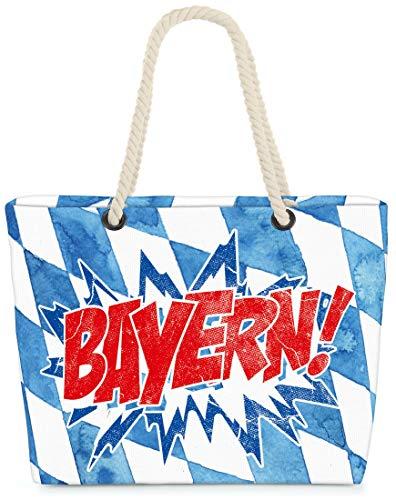 VOID XXL Strandtasche Bayern Shopper Tasche 58x38x16cm 23L Beach Bag Bavaria Oktoberfest, Kissen Farbe:Blau