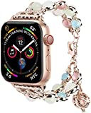 KM for Apple Watch Band, Adjustable Wristband Handmade Night Luminous Pearl iWatch Bracelet with Essential Oil/Perfume Storage Pendant for Women/Girls( 38/40mm42/44mm) (42mm/44mm, Rose Gold)