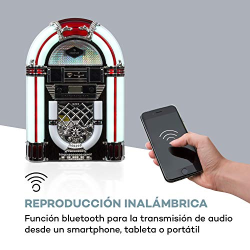 auna Arizona Jukebox Wood Edition - Equipo estéreo Vintage, Reproductor de CD...