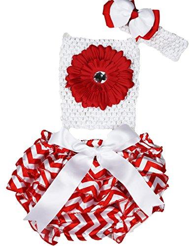 Fleur rouge Blanc Tube Top Chevron satiné bloomer en dentelle bébé Tenue Lot de 3–12 m - Rouge - taille unique