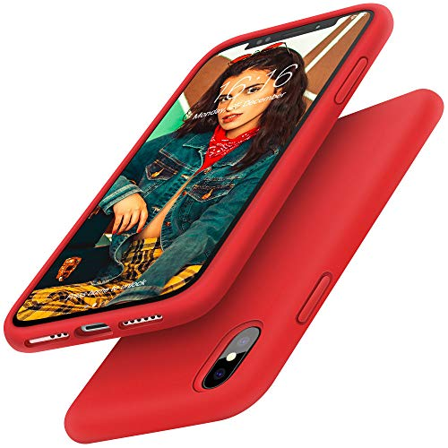 Gorain Hülle für iPhone X/XS, Flüssig Silikon Kratzfeste Schutzhülle rutschfeste Handyhülle Schale Stoßfestes Bumper Case Handyschale für iPhone X/XS 5.8 Zoll - Rot