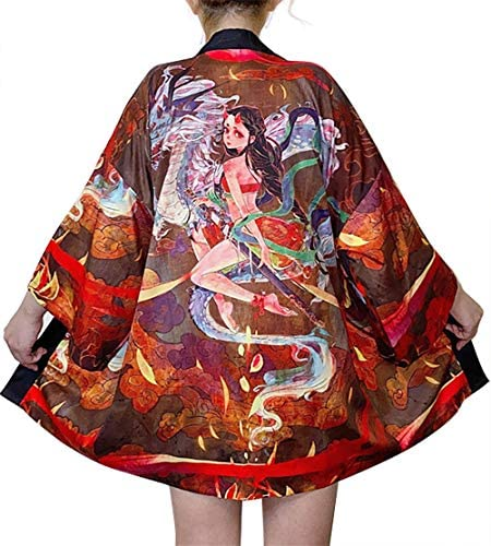 LAI MENG FIVE CATS Women s 3 4 Sleeve Loose fit Japanese Shawl Kimono Cover up OneSize US S product image