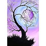 Soreatr Pintura 5D Diamante para Adultos y Niños Gran árbol con gemas Taladro completo Bordado Redondo Kits de Punto de cruz Artesanía Decoración de Pared para el Hogar Gift-20X30CM
