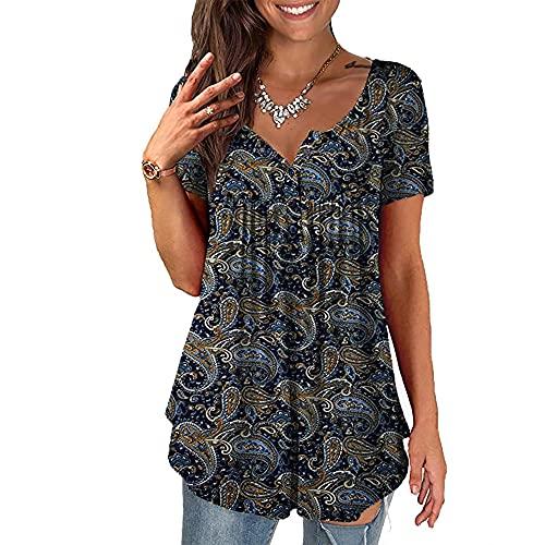 BAINA Camisetas de Mujer Camisetas con Estampado Floral Vintage Camisetas de Manga Corta de Verano con Cuello...
