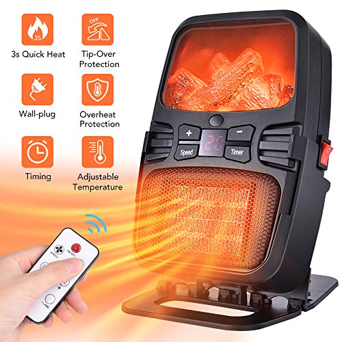 Heizlüfter, 2 IN 1 Tragbar Desktop Wandstecker Wärmer Heizung mit LED Anzeige, Einstellbarer Temperatur, Zeitwahl, Überhitzungsschutz und Umkippschutz, Fernbedienung, Energiesparend
