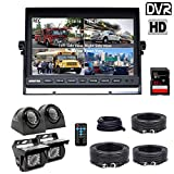 Backup Camera System, DOUXURY 4 Split Screen 9'' Quad View Display HD 1080P Monitor with DVR Recording...