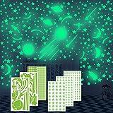 Annhao Adesivi da Parete Fluorescenti, 674 Pezzi stelle luminose e Luna fluorescente e astronave e Meteora e Dots di Adesivo Decorazione, per la decorazione del soggiorno della cameretta dei bambini.