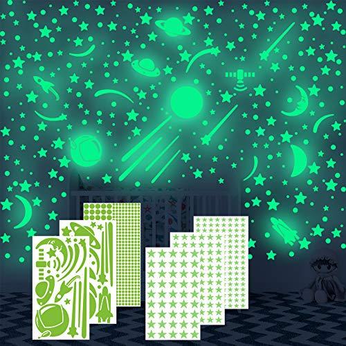 Annhao Adesivi da Parete Fluorescenti, 674 Pezzi stelle luminose e Luna fluorescente e astronave e Meteora e Dots di Adesivo Decorazione, per la decor