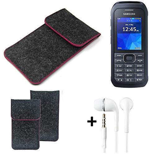 K-S-Trade Filz Schutz Hülle Für Samsung Xcover 550 Schutzhülle Filztasche Pouch Tasche Handyhülle Filzhülle Dunkelgrau Rosa Rand + Kopfhörer