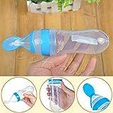 Merssavo 3 Onzas de bebé biberón con cuchara Azul