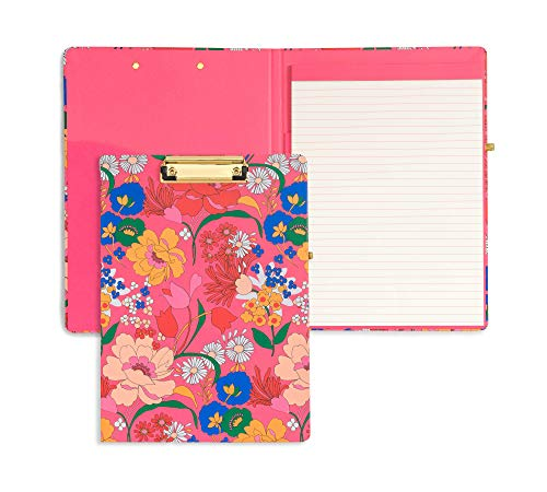 ban.do Get It Together Hardcover Clipboard Folio with Removable Notepad, Padfolio with Pen Loop and Metal Clip, Superbloom (Pink)
