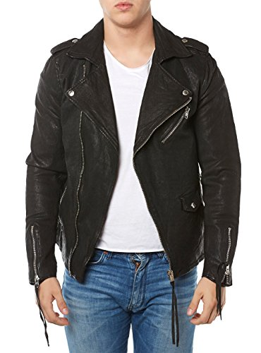 Tigha Jacke Herren Lederjacke Cassidy 101333 SCHWARZ Black Leather Men, Größe:M