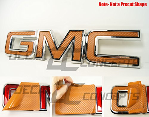 Decal Concepts GMC Sierra/Yukon Orange Carbon Fiber Front Grill Emblem Overlay Wrap Kit (07-17)